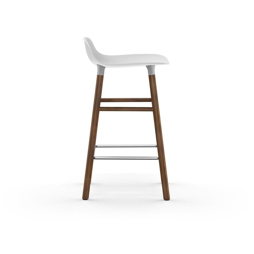 Walnut stool with white polypropylene seat, two different heights available