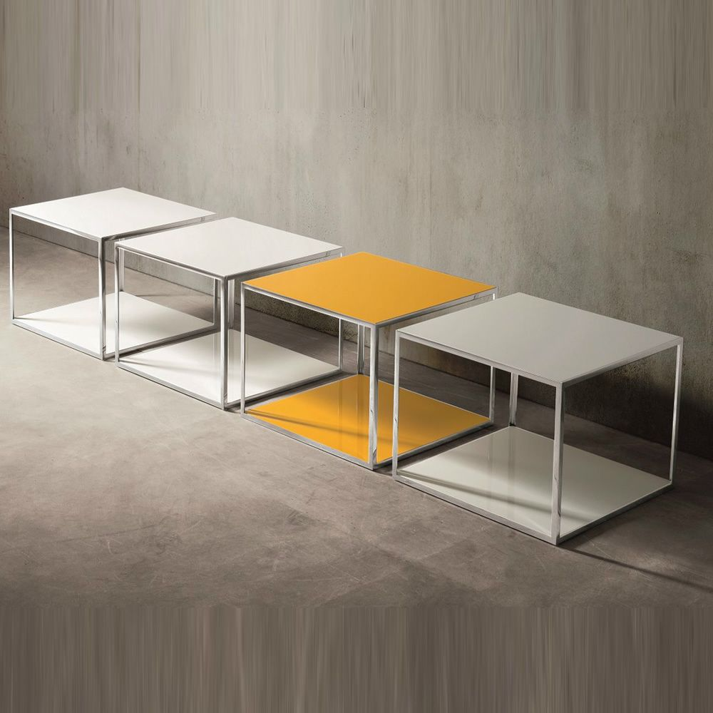 Coffee tables in chormed metal, top made of lacquered veneered wood in white and chrome yellow colours