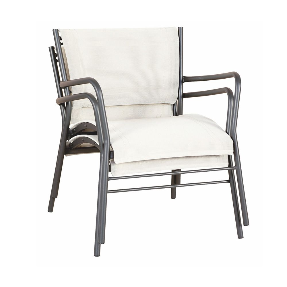 Stackable armchair made of anthracite grey varnished metal, seat and backrest in natural textilene, for garden