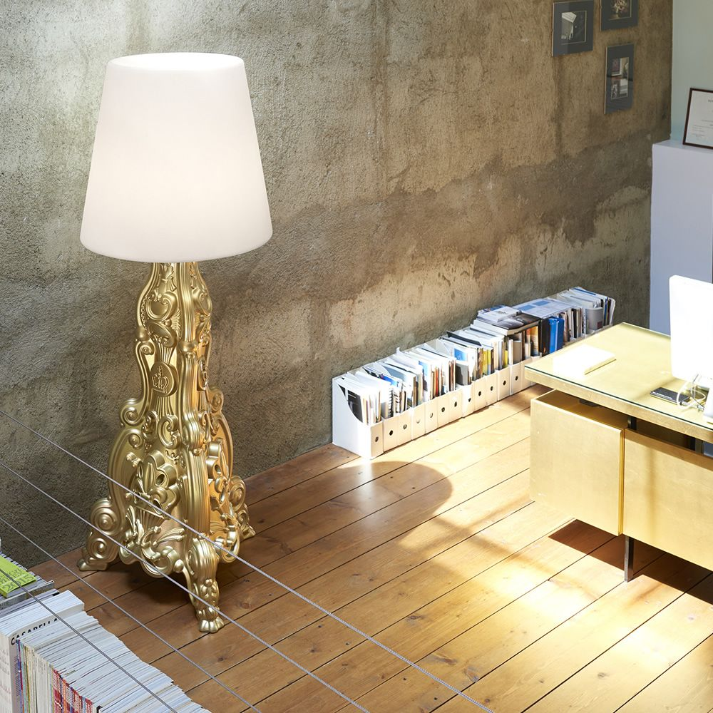 Floor lamp made of lacquered polyethylene in metallic gold colour