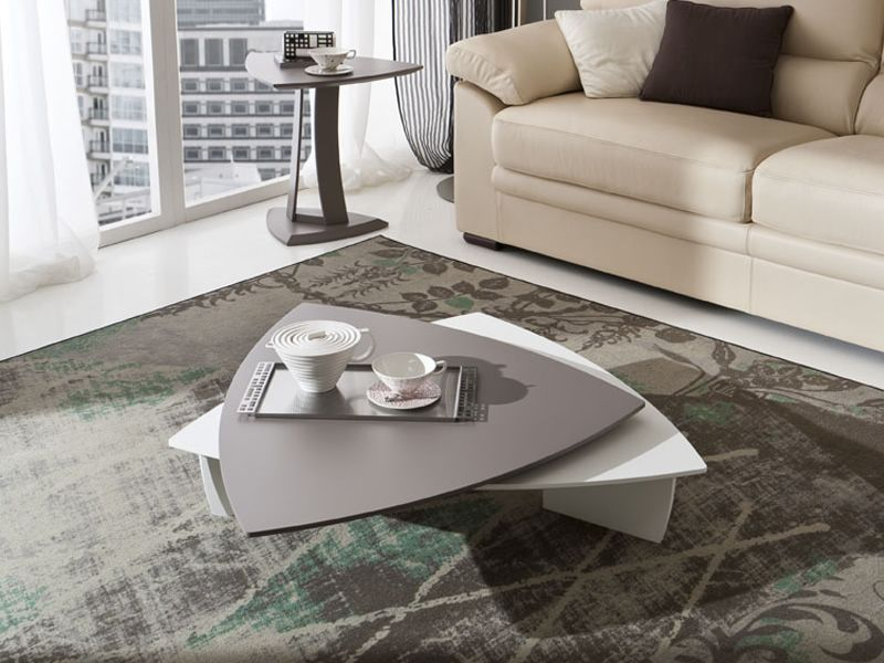Coffee table with upper top in dove grey, matching with PA373 side table