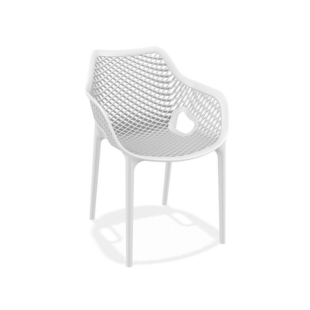 Stackable chair with armrest, made of polypropylene and glass fiber, white version, also for garden