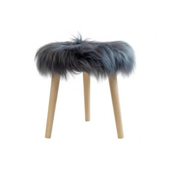 Sheep Stool - Low stool with wooden structure and sheep fur covered seat, dark grey colour