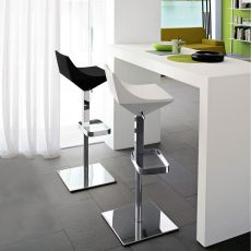 CB1040 Fly - Connubia - Calligaris stool, swivel and adjustable in height, made of metal and polyurethane