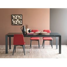 CB4010 130 Baron - Connubia - Calligaris metal table, different tops available, 130 x 85 cm extendable