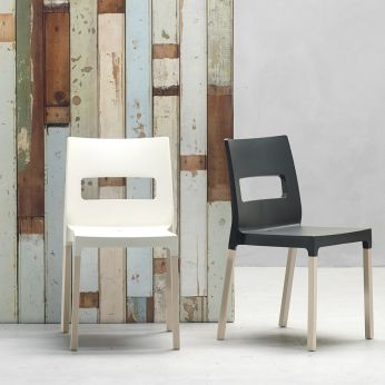 Natural Diva Mx 2816 - Chairs in wood, seat in tecnopolimer