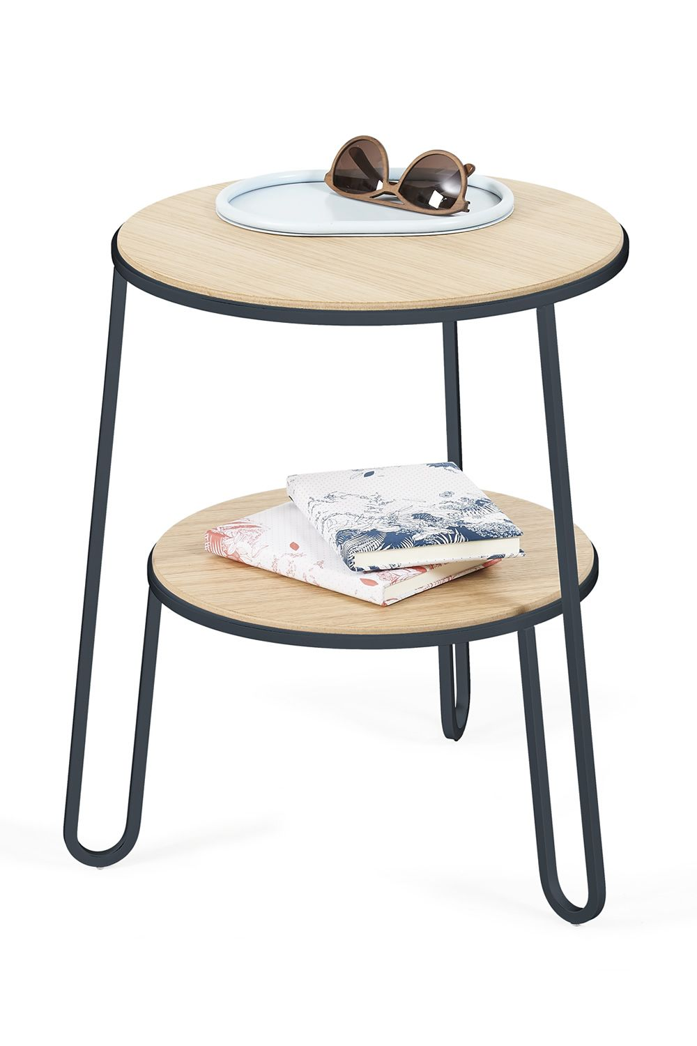 Side table in slate grey varnished metal, with wooden top
