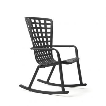 Folio rocking - Nardi rocking chair with reclining backrest, in polypropylene, anthracite colour