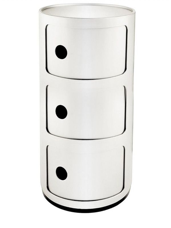 Design Kartell container equipped with three drawers, white colour