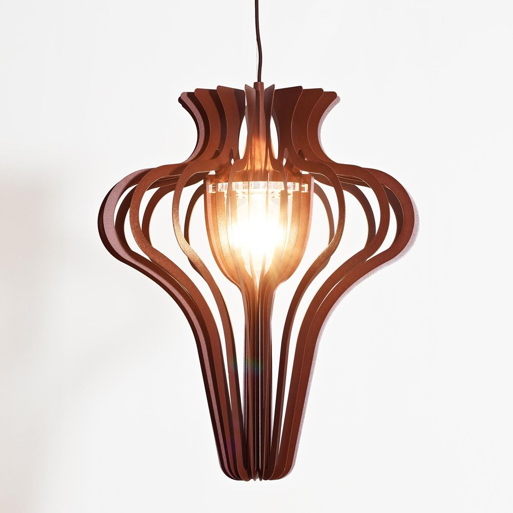 Design suspension lamp, corten effect varnished metal