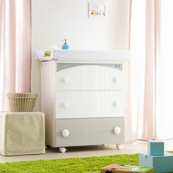 Gaia F - Changing table-baby bath in glossy white colour