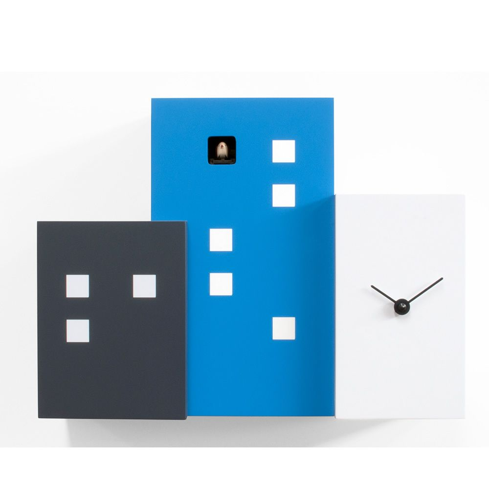 Cuckoo clock in wood, light blue version
