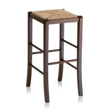 MU70 Alto - Country style high stool in wood, height 73 cm, different dyes available, with seat in wood, straw or different types of fabric