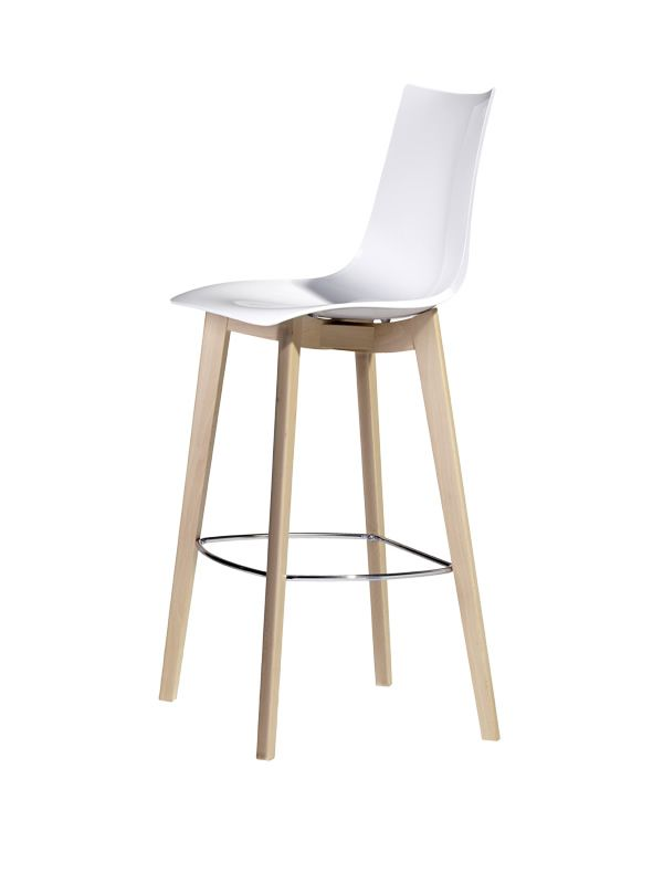 Modern stool with beech structure in natural dyed, polycarbonate shell in white colour