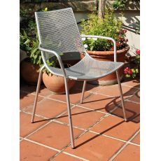 Ala 151 - Emu chair with armrests, made of metal, stackable, in several colours, also for garden