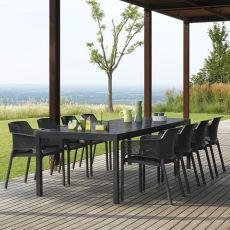 Rio - Extendable table made of metal, resin top in several sizes, for garden