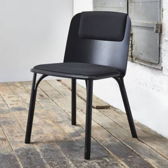 Split - Design chair in black stained wood, with seat upholstered in fabric