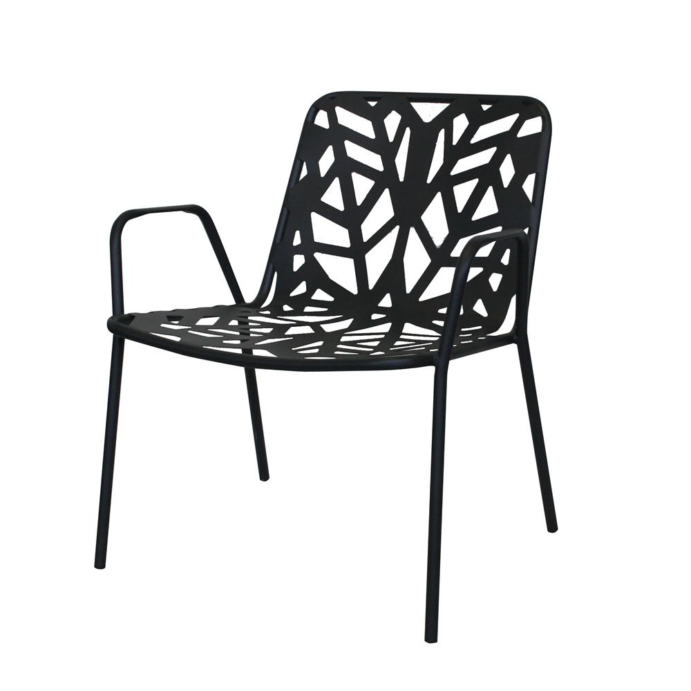Metal armchair, stackable, anthracite grey colour