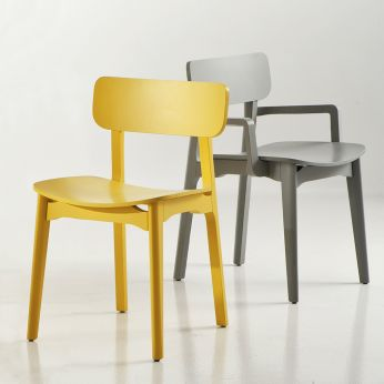Cacao - Ashwood chair in grey open pore lacquered with armrests or yellow lacquer without armrests