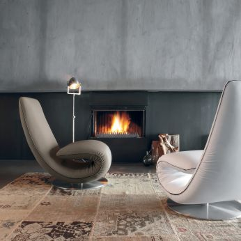 Ricciolo 7865 - Armchair-chaise longue covered with white leather and mud grey Orchidea fabric