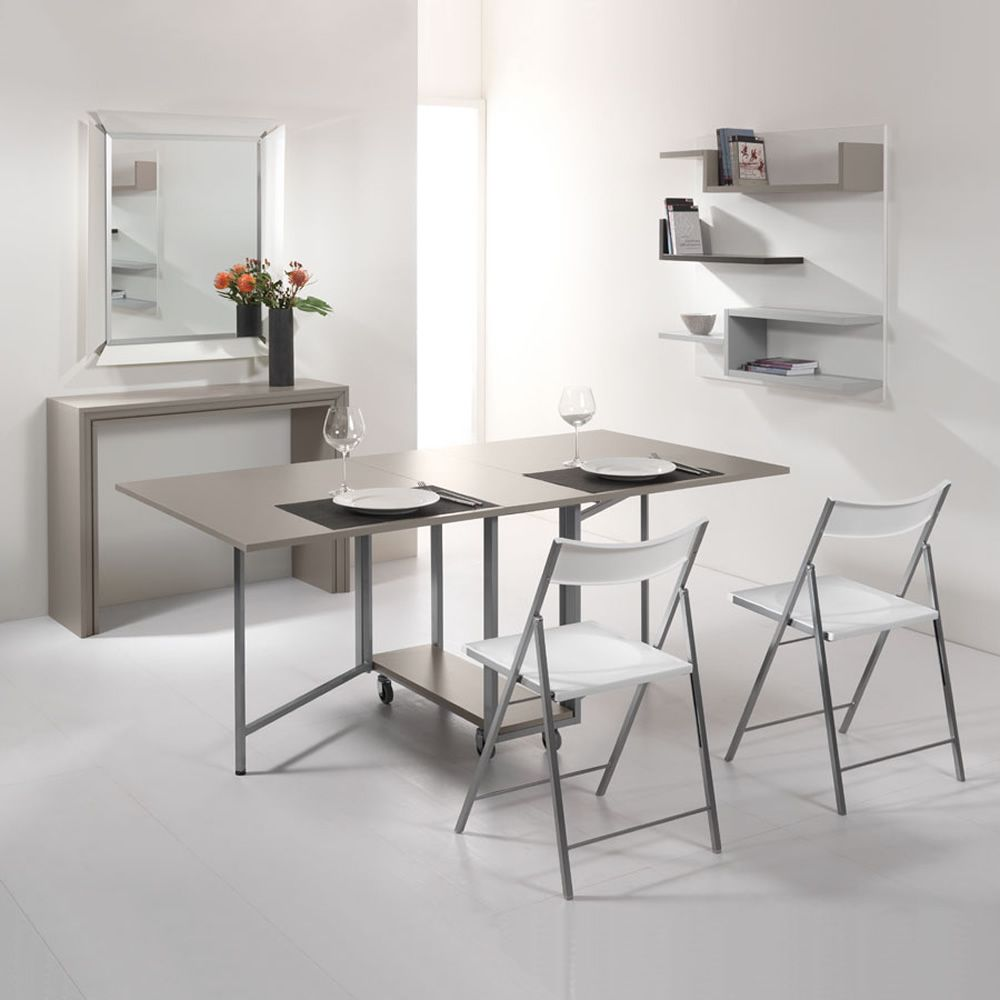 Consolle and table in dove grey (chairs only on request)