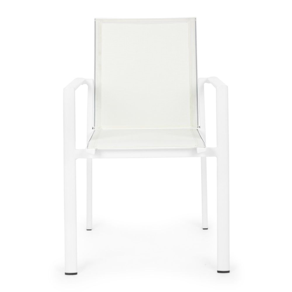 Armchair in aluminum and textilene, suitable for the garden, stackable