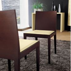 Jump - Midj chair made of wood with bonded leather seat