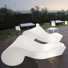 Rococò - Slide chaise longue on wheels, in polyethylene, also with lighting system and for garden