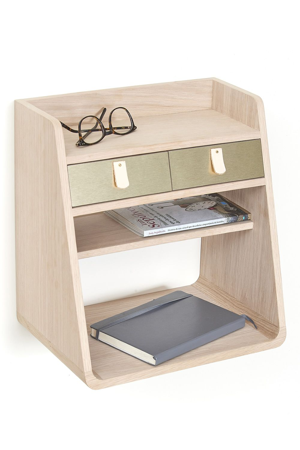 Wall-mounted storage in oak wood, with two drawers in brass colour
