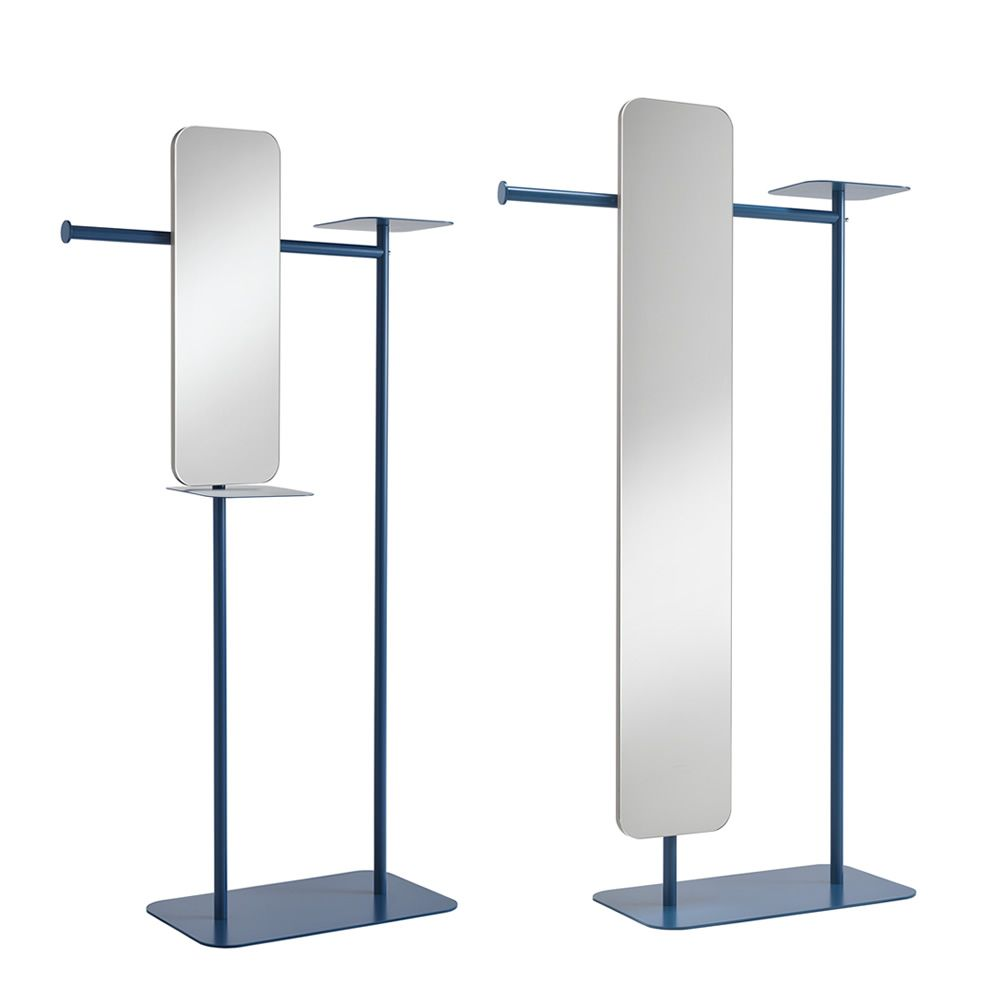 Varnished metal valet stand, with mirror, S and L models