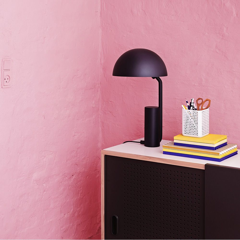 Table lamp made steel in blue color, with adjustable and swivel lampshade