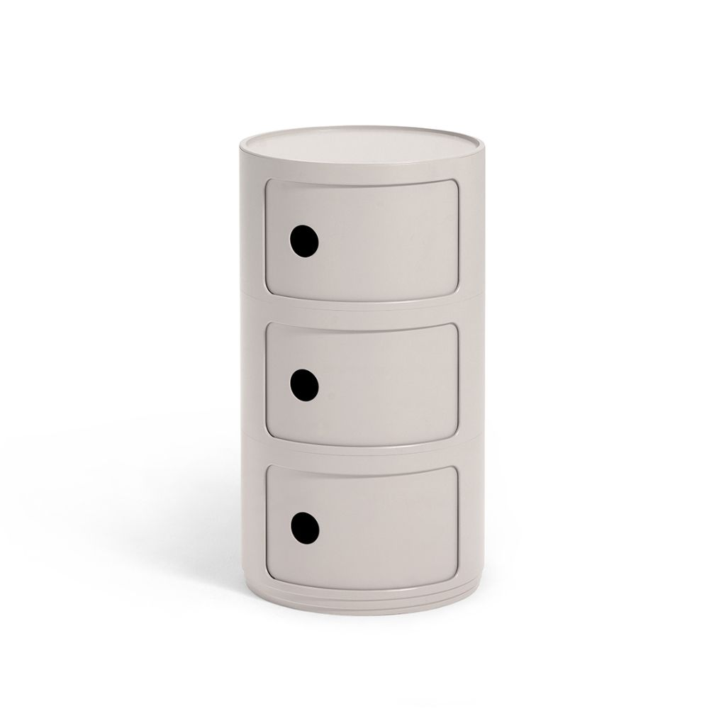 Design Kartell container, with three drawers, cream white colour