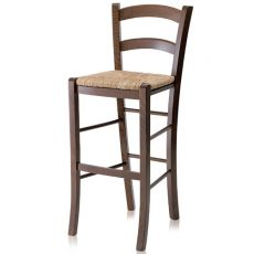 199 - A - Country style high stool in wood, height 73 cm, different dyes available, with seat in wood, straw or different types of fabric