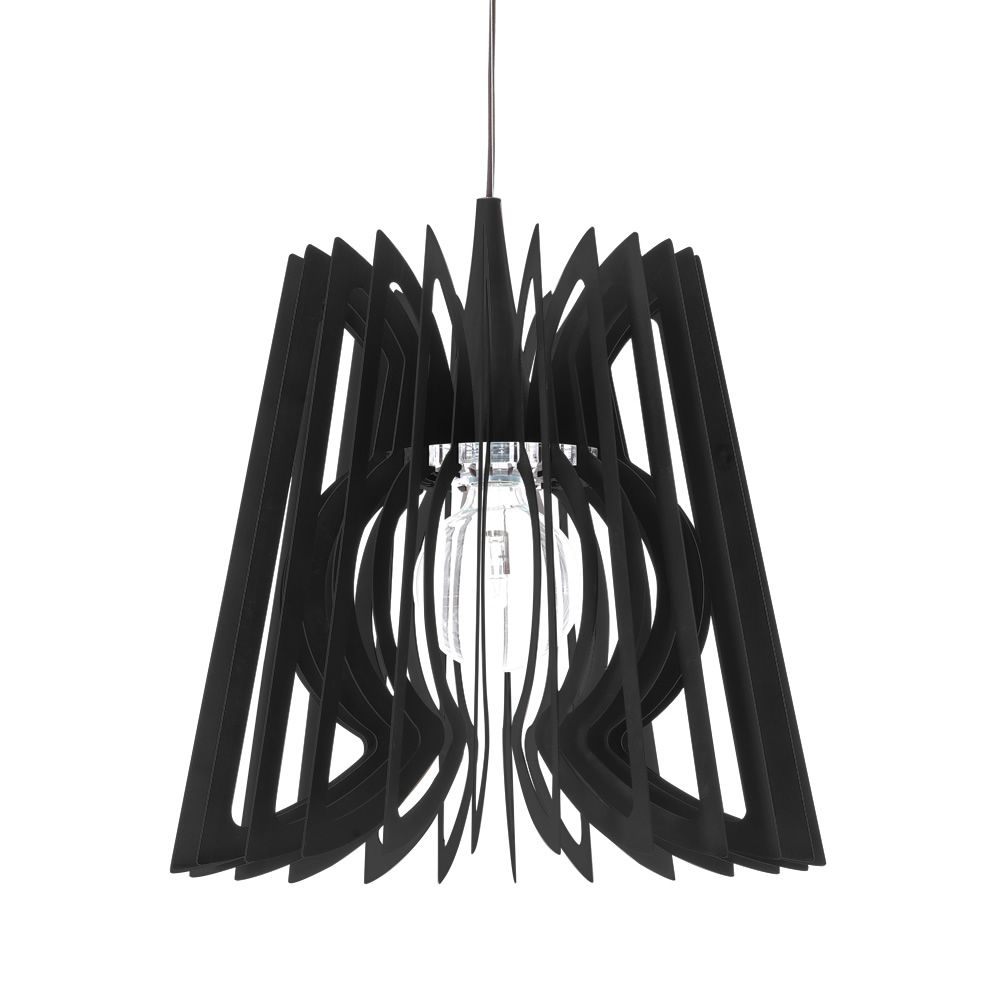 Suspension lamp in black steel, M size