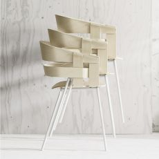 Wick - Stackable chair made of metal, seat in veneered wood, also with seat cushion, different colours available