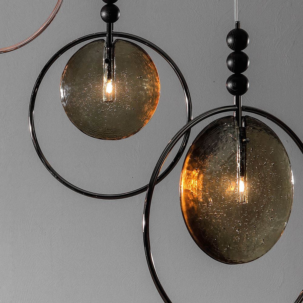Suspension lamp with structure in metal, glass and wood, detail