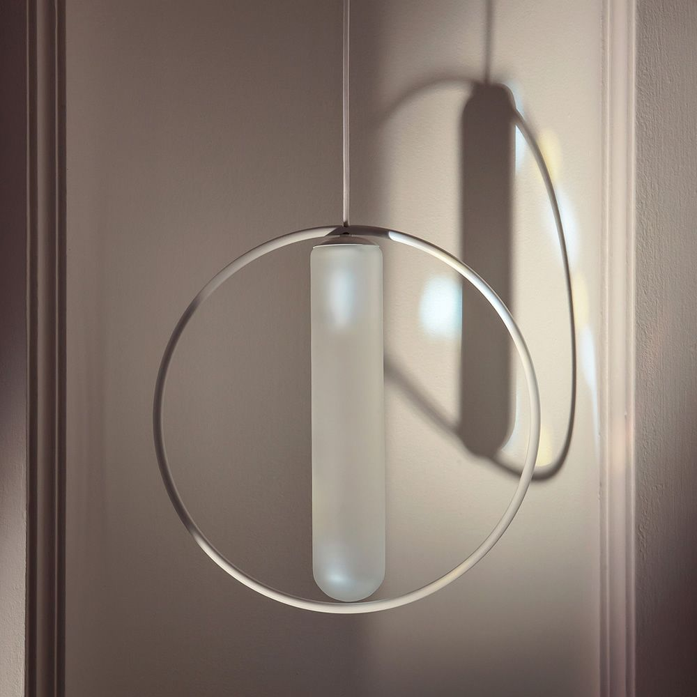 Suspension lamp, glass and metal, white colour