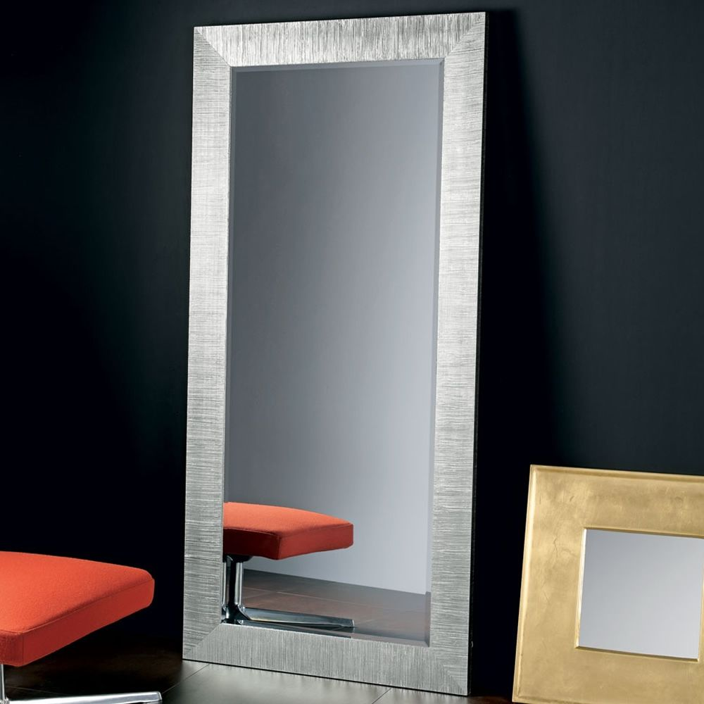 Wooden mirror with silver leaf decoration, chamfered glass, 92x192cm (only on request)