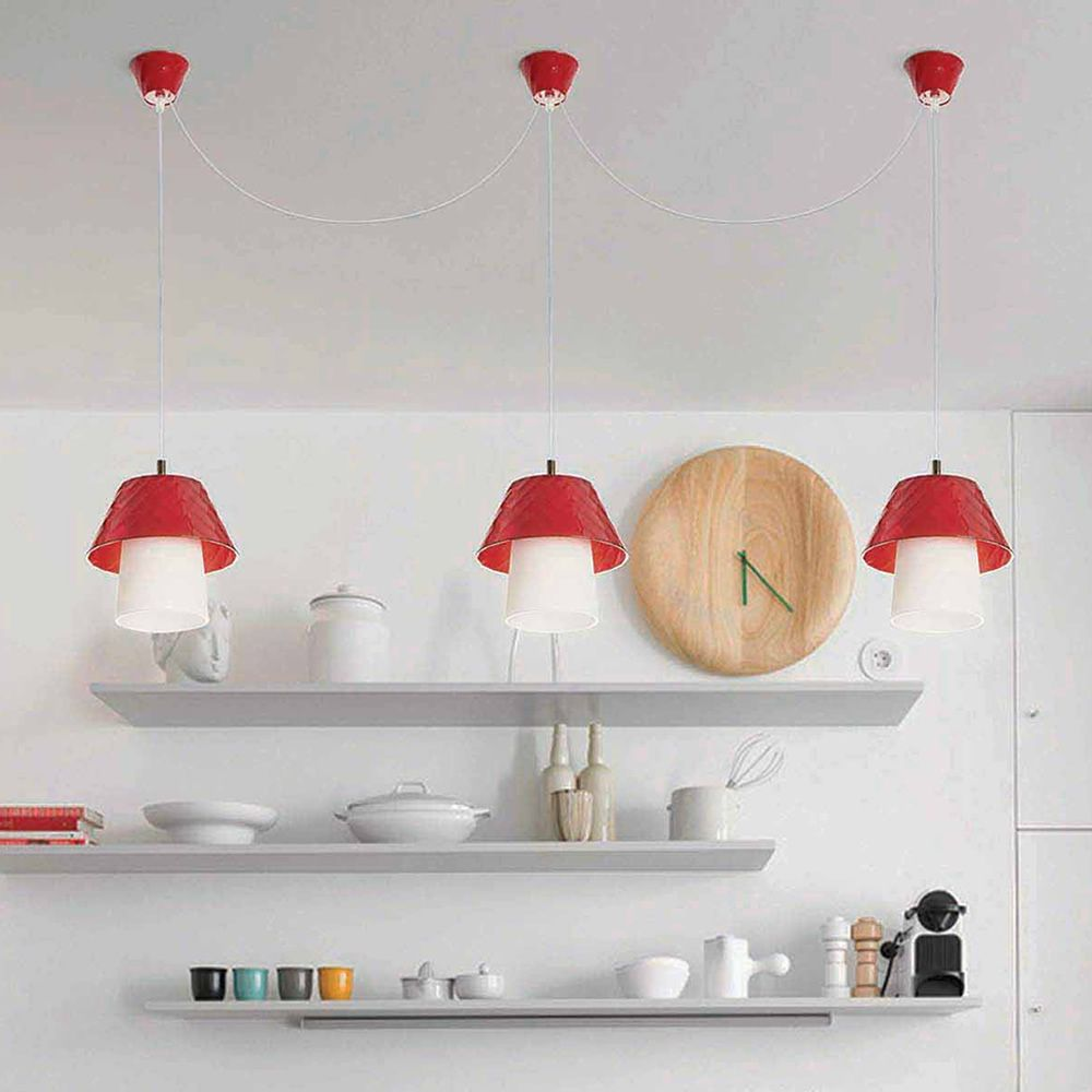 Pendant lamp made of methacrylate in red colour (size: L)
