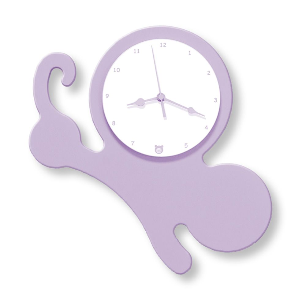 Wall clock in lilac lacquered MDF wood