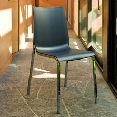 Eva - Stackable chair by Bontempi Casa, in metal with seat in polypropylene, even suitable for outdoor