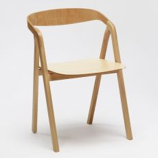 Sta - Wooden chair with armrests, stackable, available in several colours