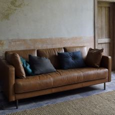 N501 - Ethnicraft sofa with 2 or 3 seats, upholstered and with vintage leather covered