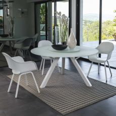 Circle - Aluminium table with glass top, 150 cm diameter, with swivel tray, also for garden