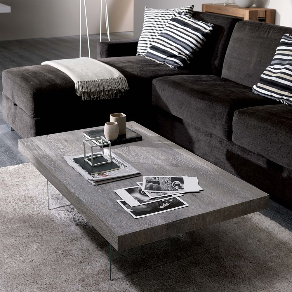 Trasformable coffee table with rectangular top in ash grey ancient oak