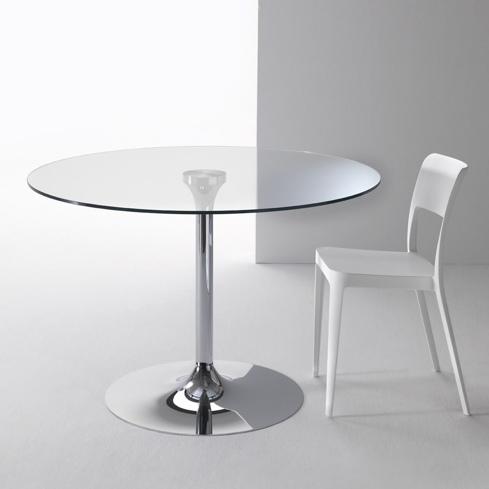 Metal able with transparent glass top
