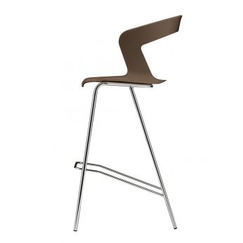 Ibis 302 - Metal stool, shell in brown technopolymer