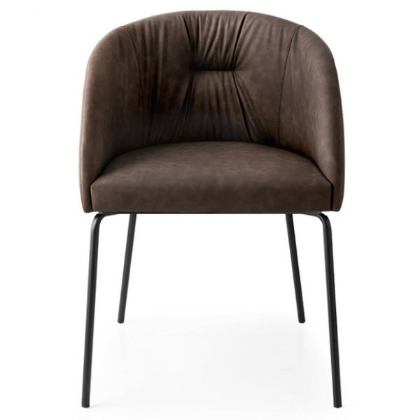 Black varnished metal armchair, seat covered with ebony brown Vintage imitation leather