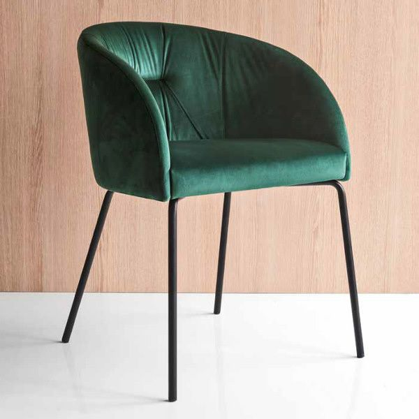 Black varnished metal armchair, seat covered with forest green Venice fabric