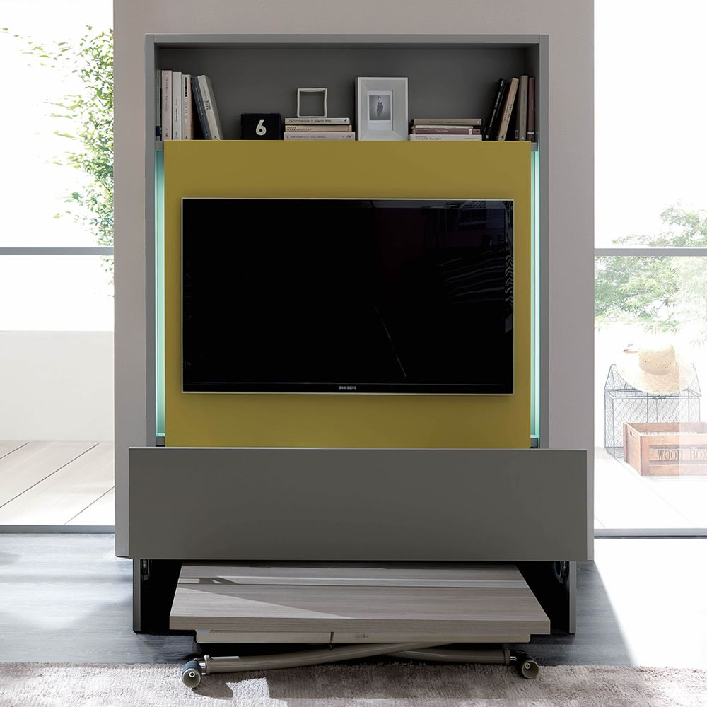 Wooden living wall unit in pumice stone grey, with TV-rack in mustard yellow,  drawer cement grey